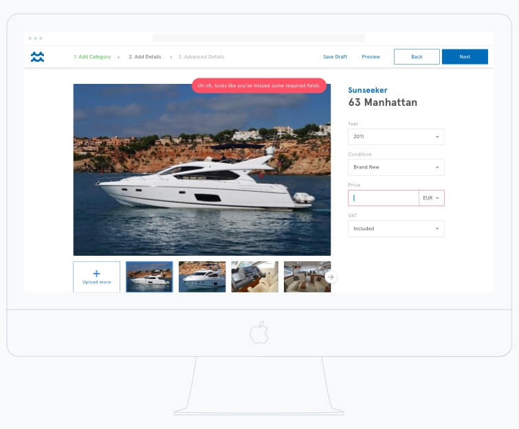 A fresh looking UI for yacht classifieds website